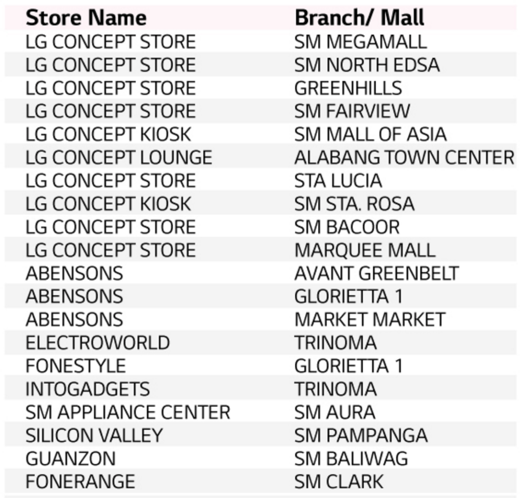Stores in Luzon where you can preorder the LG V20