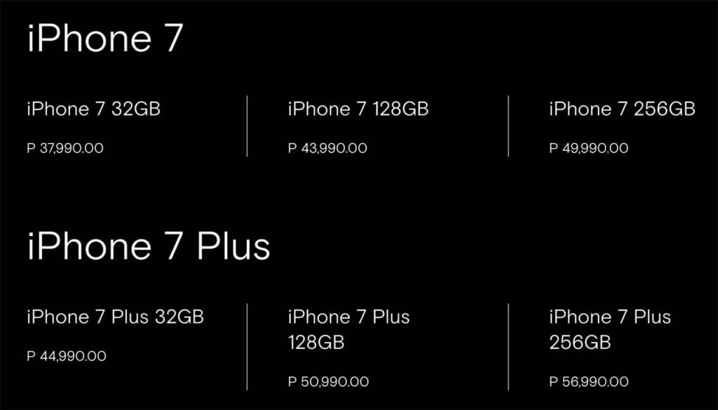 Apple IPhone 7 And Plus Pricing
