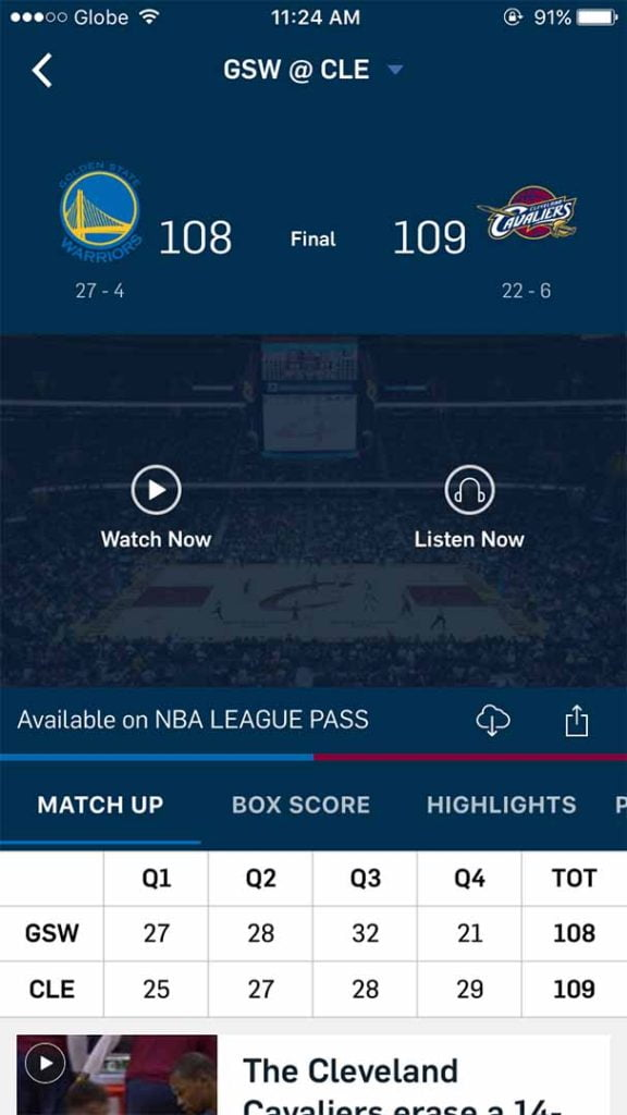 Downloading of games possible with NBA app 3