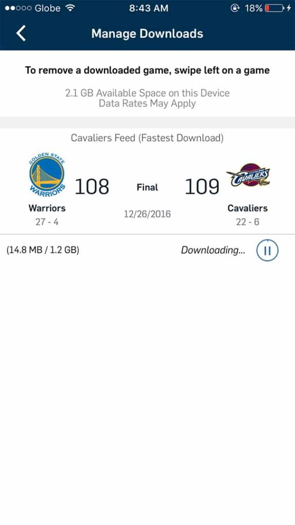 Downloading of games possible with NBA app 5