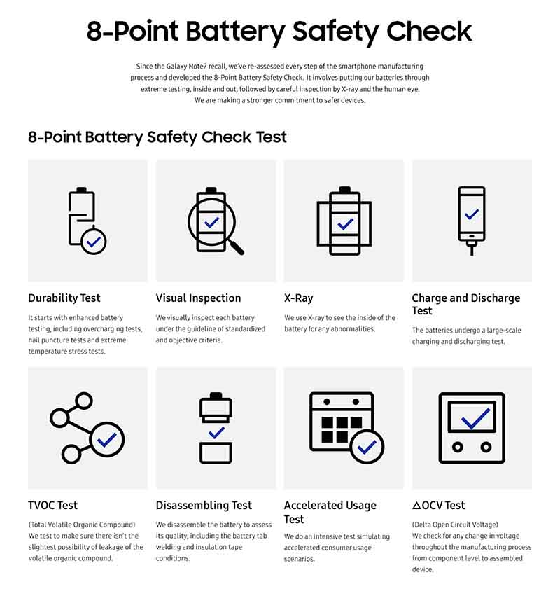 Samsung Galaxy 8 point battery safety check Philippines