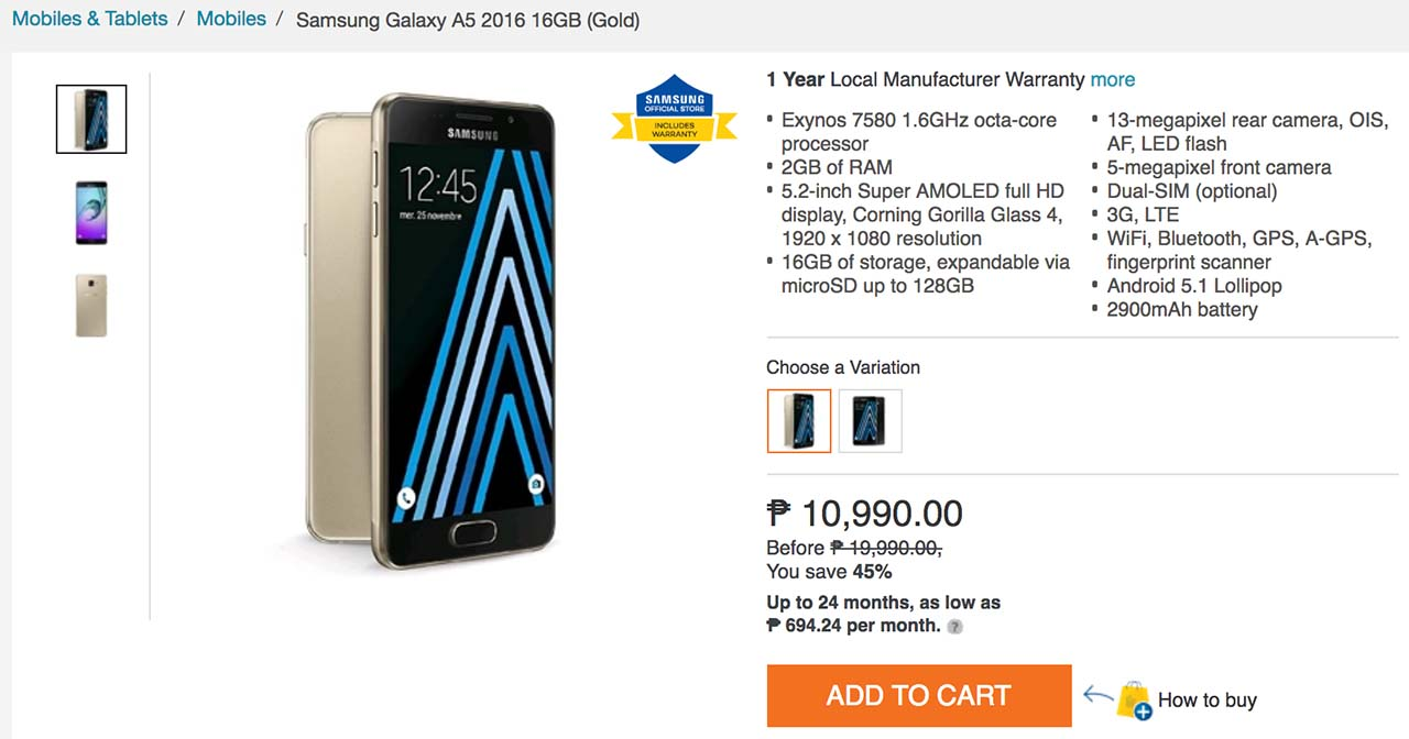 Deal Alert Samsung Galaxy A5 2016 Price Drops From P19990 To P10990 A7 16gb On Lazada Philippines