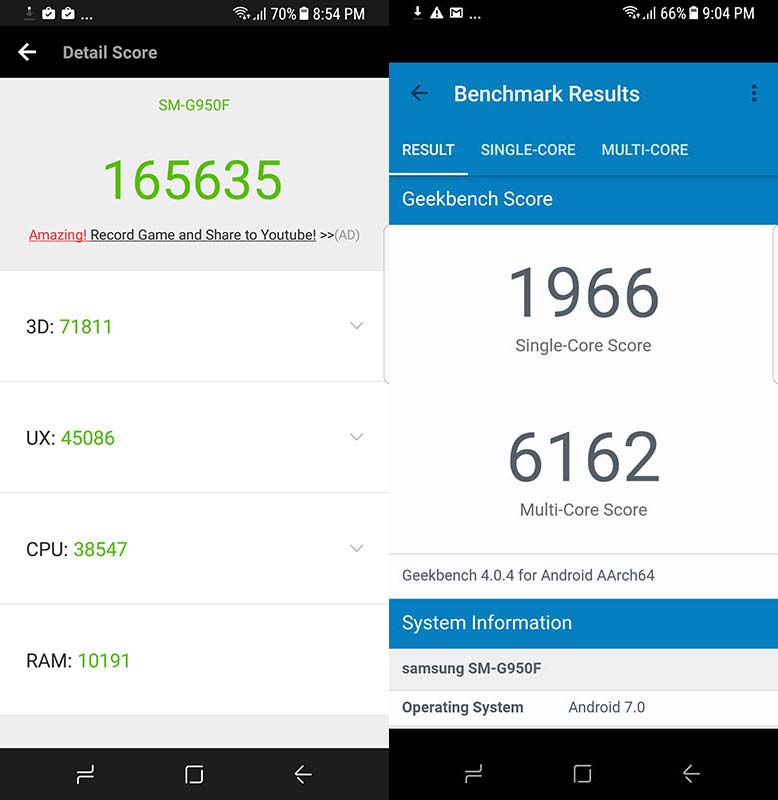 Samsung Galaxy S8 Antutu Benchmark and Geekbench scores_Philippines