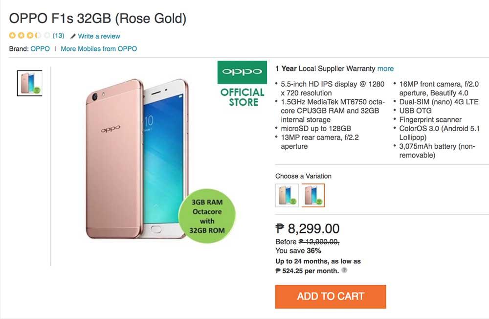 OPPO F1s sale price on Lazada_Revu Philippines