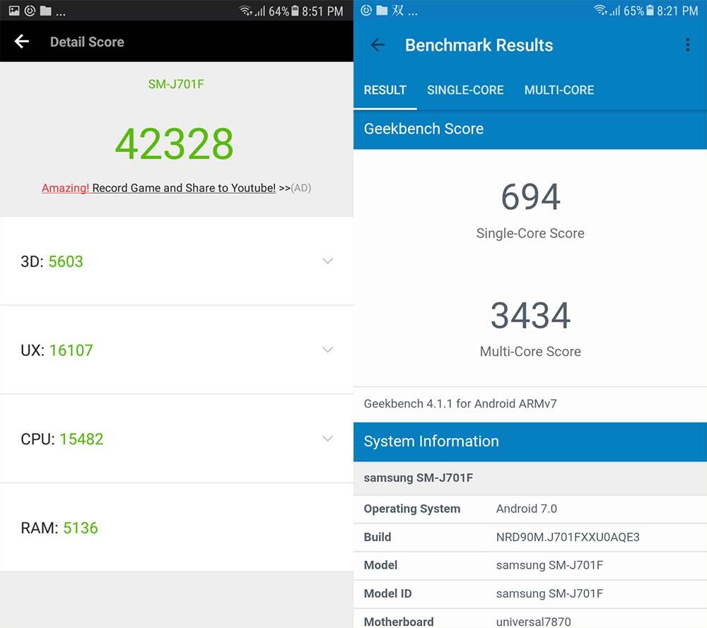 Samsung Galaxy J7 Core Antutu Geekbench scores_Revu Philippines