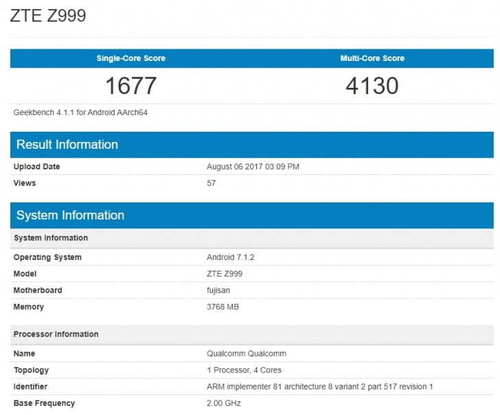 ZTE Axon M foldable phone specs on Geekbench_Philippines