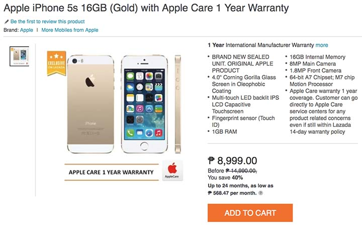 Apple iPhone 5s sale on Lazada Philippines