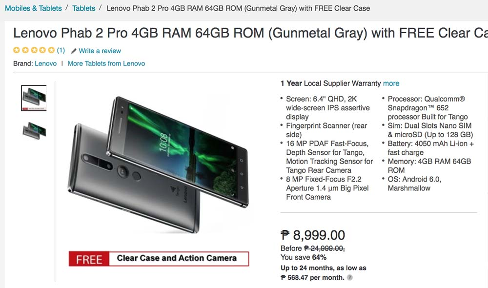 Lenovo Phab 2 Pro sale on Lazada Philippines_Revu