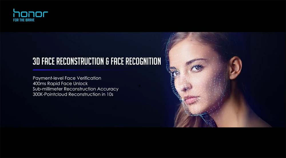 Huawei Honor View 10 V10 3D facial recognition reconstruction
