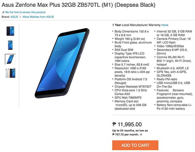ASUS ZenFone Max Plus M1 price specs on Lazada by Revu Philippines