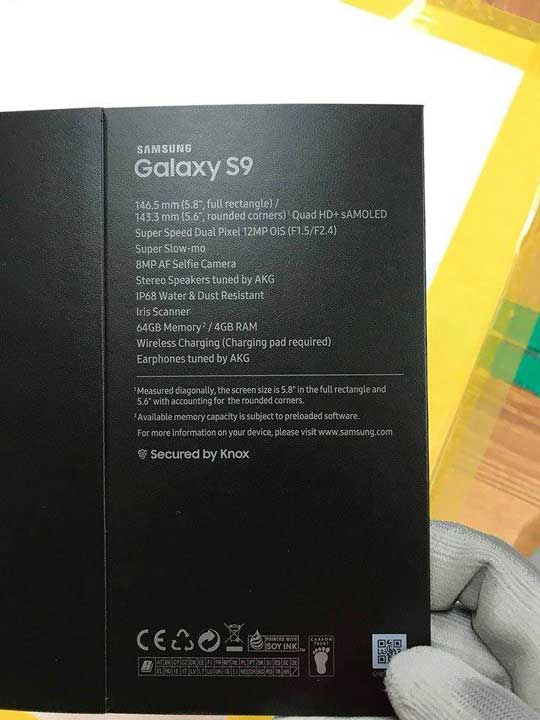Samsung Galaxy S9 leaked specs on Reddit