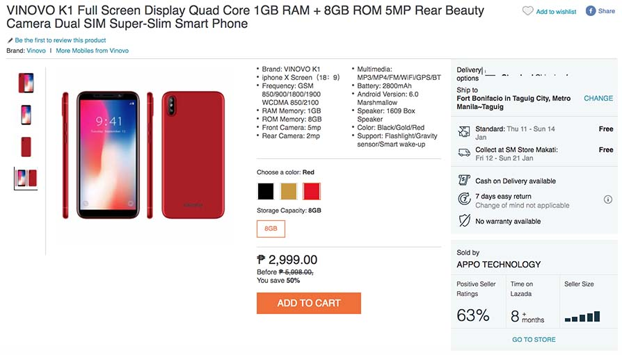 Vinovo K1 cheapest iPhone X clone on Lazada Philippines
