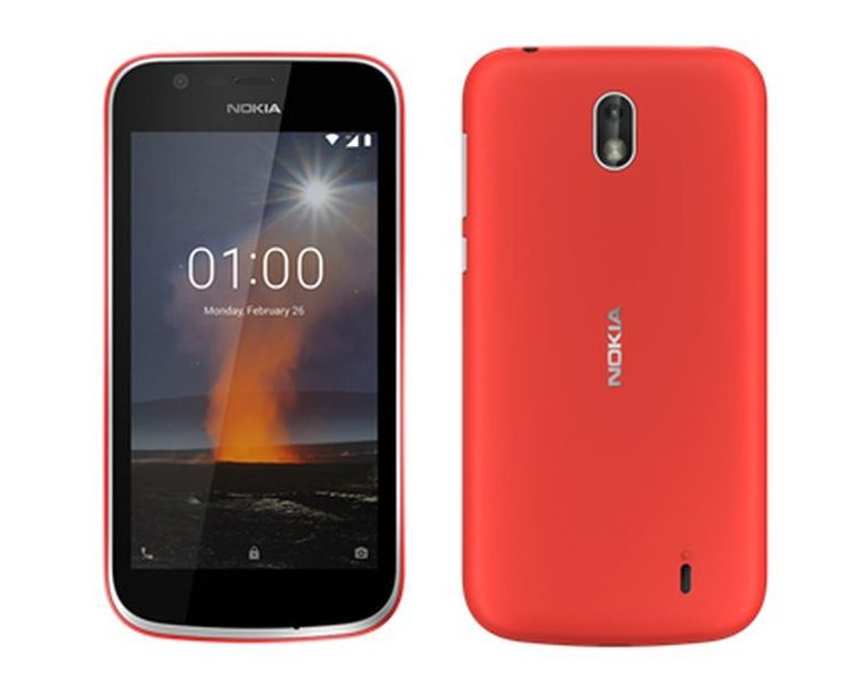 Nokia 1 front and back. Android Go smartphone.