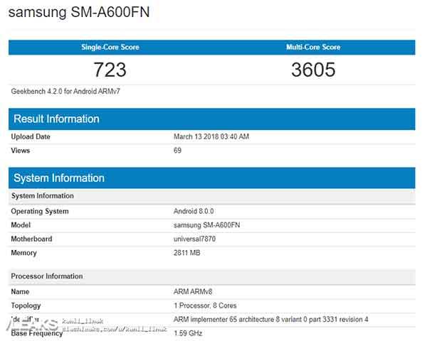 Samsung Galaxy A6 benchmark score and specs leak on Revu Philippines