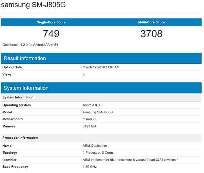 Samsung Galaxy J8 Plus benchmark scores on Geekbench via Revu Philippines
