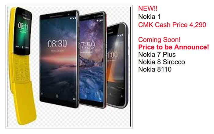 Nokia 1 price and specs on CMK Cellphones spotted by Revu Philippines