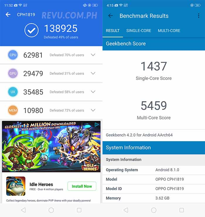 OPPO F7 Antutu and Geekbench benchmark scores on Revu Philippines