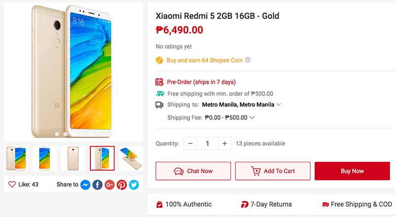 Cheaper Xiaomi Redmi 5 price on Shopee via Revu Philippines