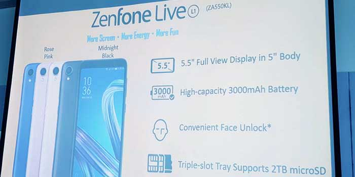 ASUS ZenFone Live L1 Android Go phone specs, price and design on Revu Philippines