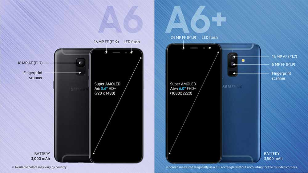 Samsung Galaxy A6 vs Samsung Galaxy A6 Plus design and specs comparison on Revu Philippines