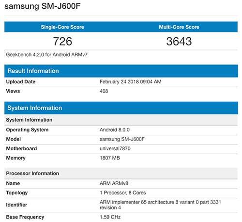 Samsung Galaxy J6 Geekbench benchmark scores on Revu Philippines
