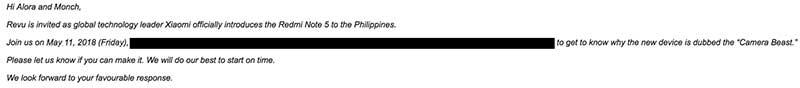 """Xiaomi Redmi Note 5 Philippine launch invite to Alora Uy Guerrero and Ramon """"Monch"""" Lopez"""