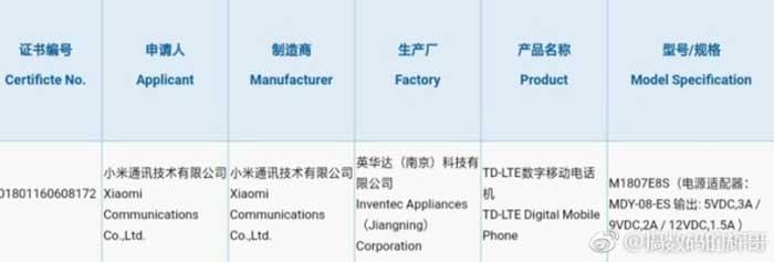 Xiaomi Mi Max 3 3C certification on Revu Philippines