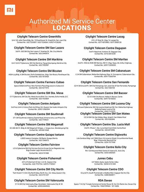 Xiaomi Philippines Authorized Mi Service Centers on Revu