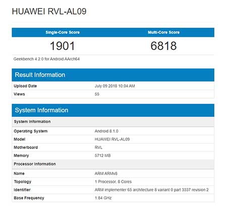 Honor Note 10 Geekbench benchmark scores on Revu Philippines