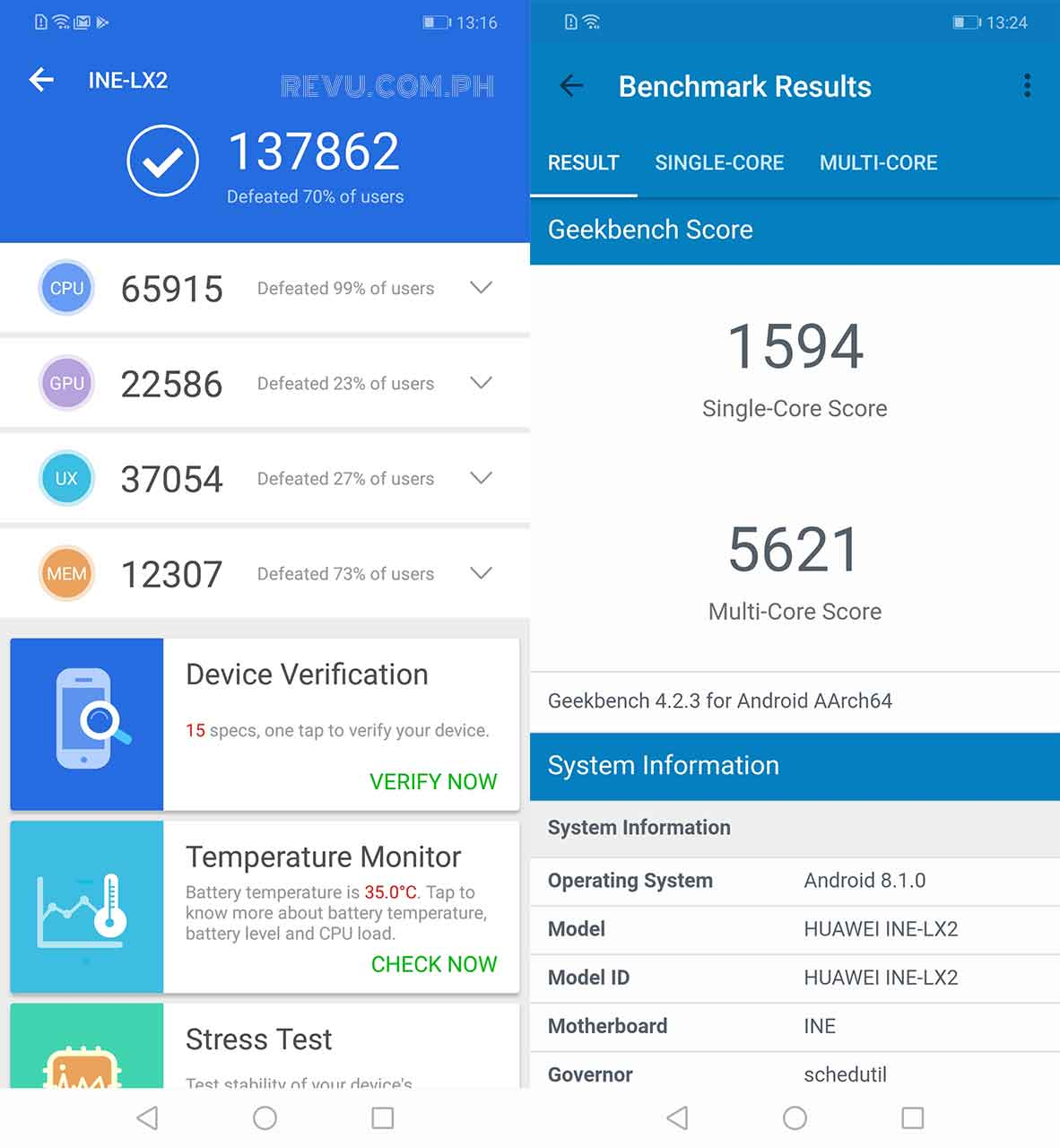 Huawei Nova 3i Antutu Geekbench benchmark scores review Revu Philippines