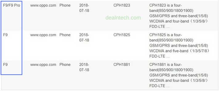 OPPO F9 and OPPOO F9 Pro Bluetooth certification on Revu Philippines