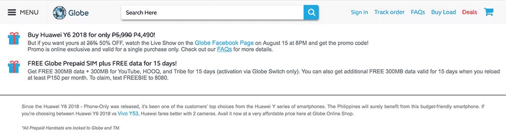 Globe Telecom Huawei Y6 2018 sale on Revu Philippines
