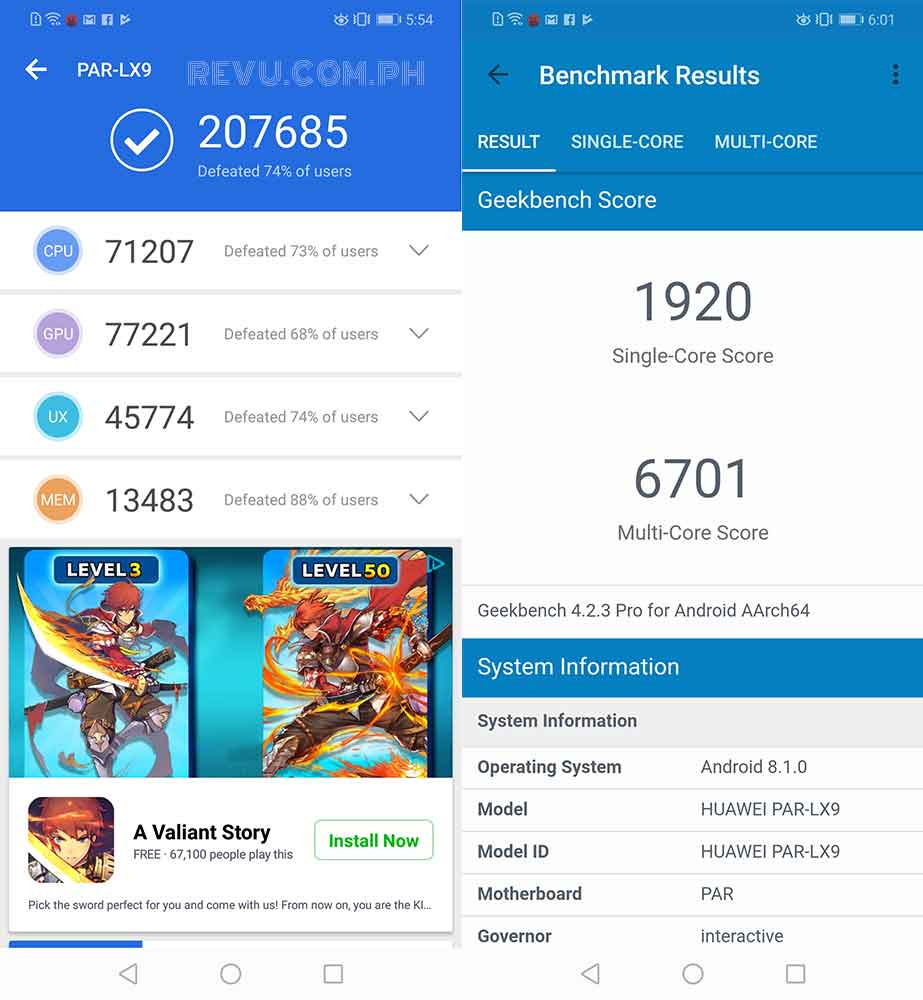 Huawei Nova 3 Antutu and Geekbench benchmark scores on Revu Philippines