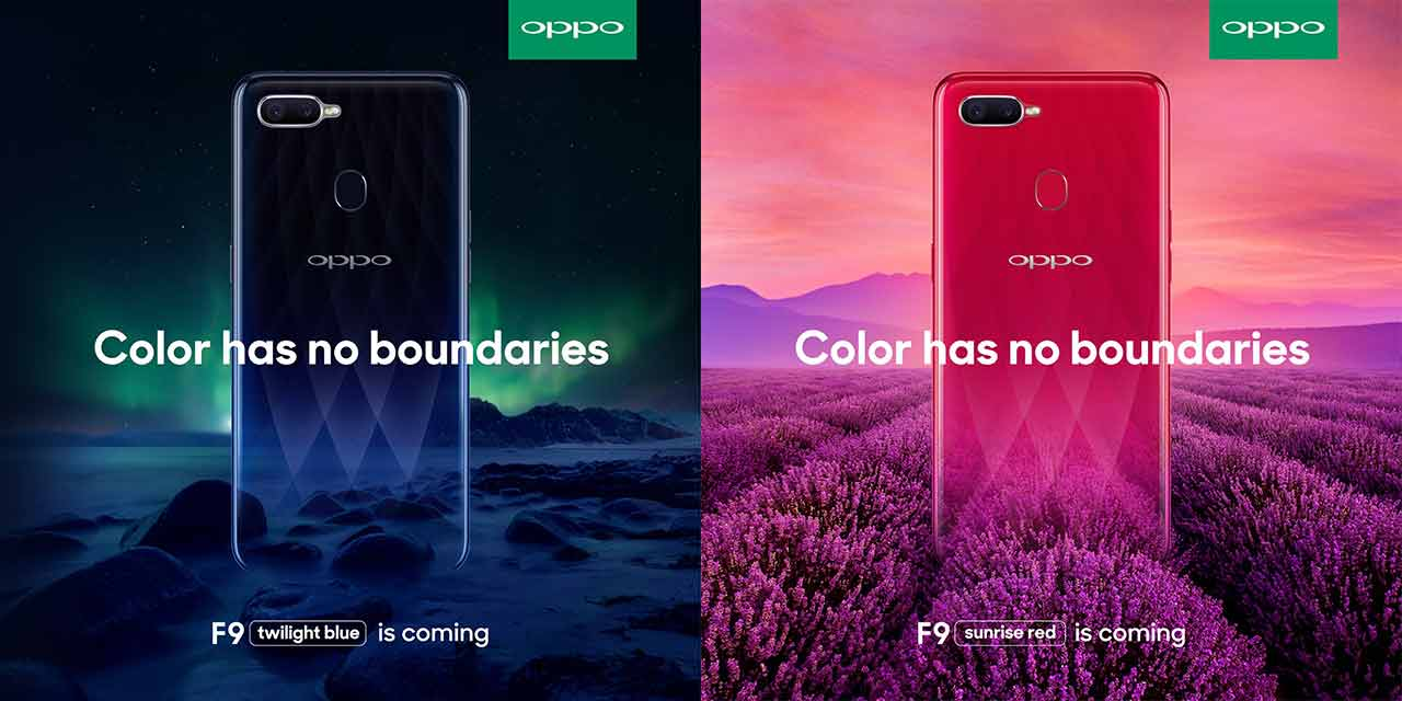 OPPO F9 Twilight Blue and Sunrise Red on Revu Philippines