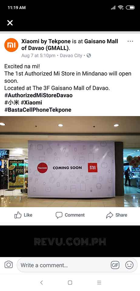 Xiaomi Mi Store at Gaisano Mall of Davao or Gmall to open soon on Revu Philippines