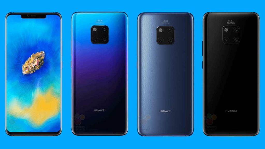 Huawei Mate 20 Pro render shows design and color variants on Revu Philippines