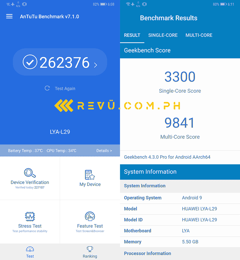 Huawei Mate 20 Pro Antutu and Geekbench benchmark scores on Revu Philippines