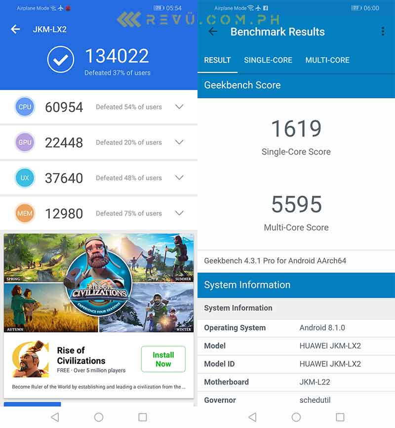 Huawei Y9 2019 Antutu and Geekbench benchmark scores in review by Revu Philippines