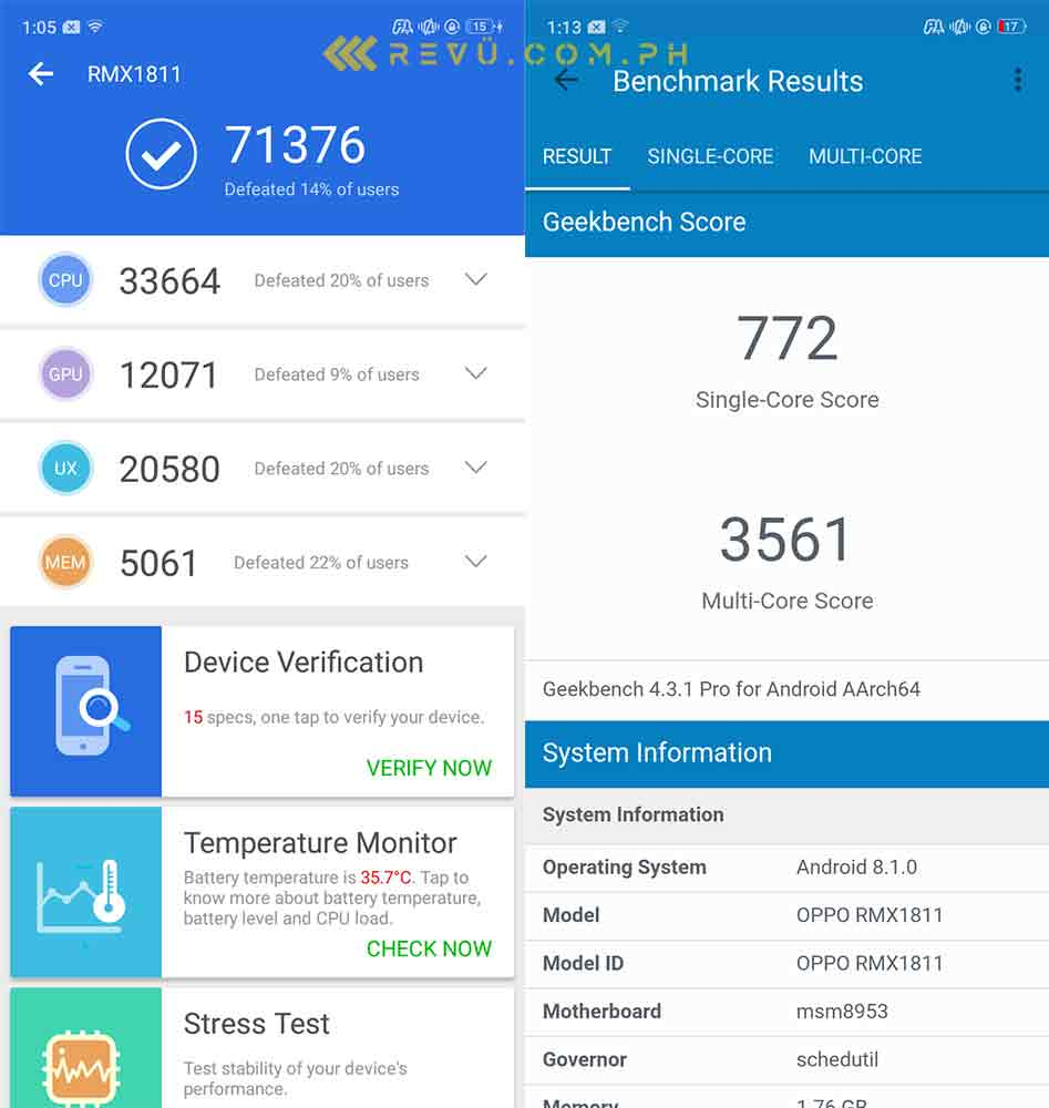 Realme C1 Antutu and Geekbench benchmark scores on Revu Philippines