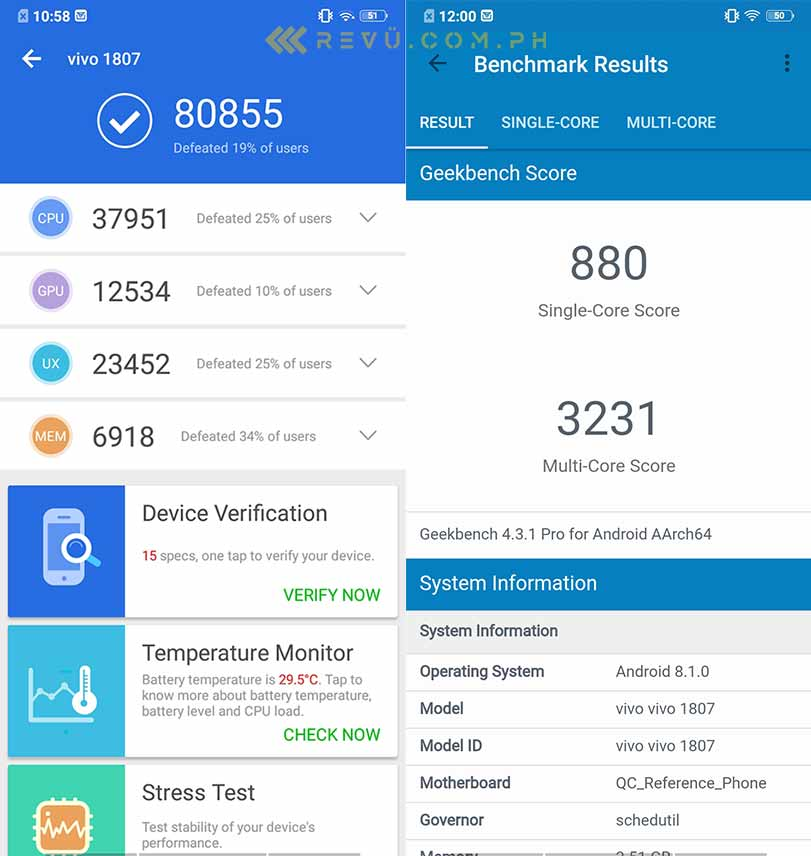 Vivo Y95 Antutu and Geekbench benchmark scores on Revu Philippines