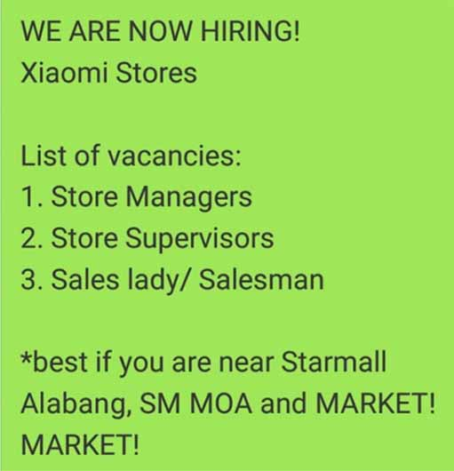 Xiaomi Mi Authorized Stores job hiring announcement on Revu Philippines