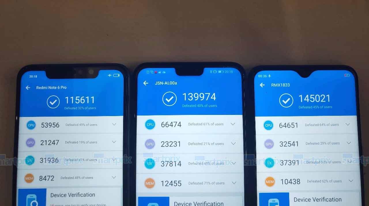 Xiaomi Redmi Note 6 Pro vs Honor 8X vs Realme U1: Antutu benchmark scores on Revu Philippines