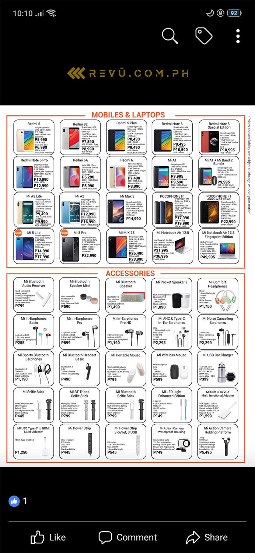 Xiaomi smartphones price guide in flyer on Revu Philippines