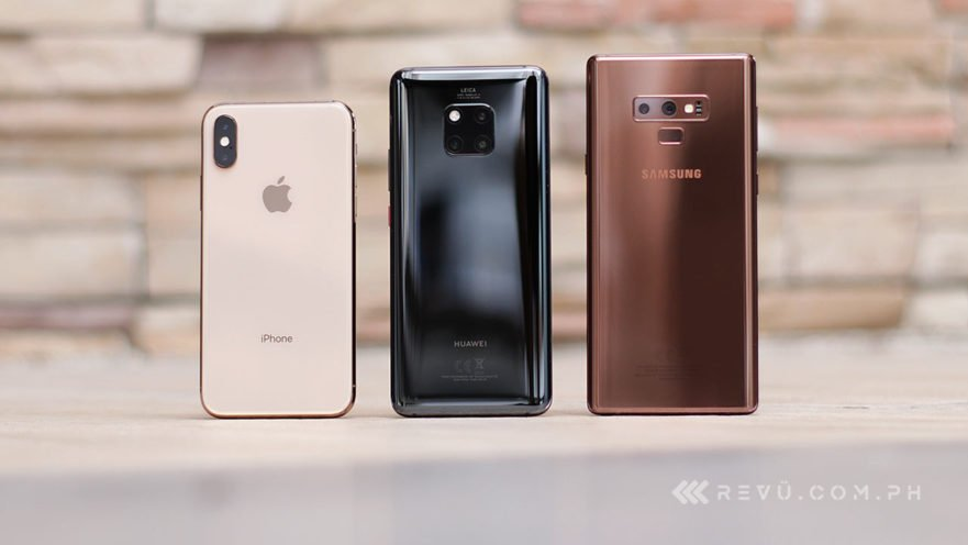 Apple iPhone XS vs Huawei Mate 20 Pro vs Samsung Galaxy Note 9 review comparison on Revu Philippines