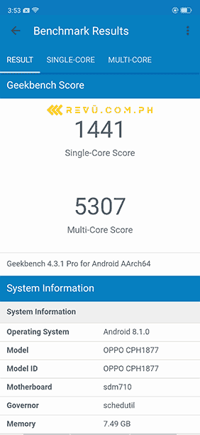 OPPO R17 Pro Geekbench benchmark scores on Revu Philippines