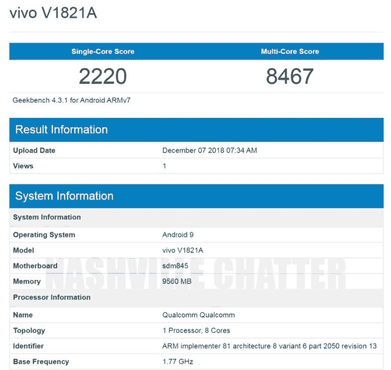 Vivo NEX 2 Dual Screen or Vivo V1821A Geekbench benchmark score on Revu Philippines