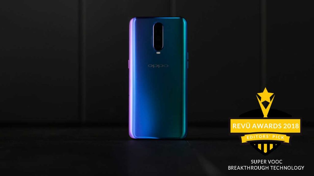 Super VOOC fast charging, OPPO R17 Pro, is breakthrough smartphone technology of the year at Revü Awards 2018, Editors' Pick category