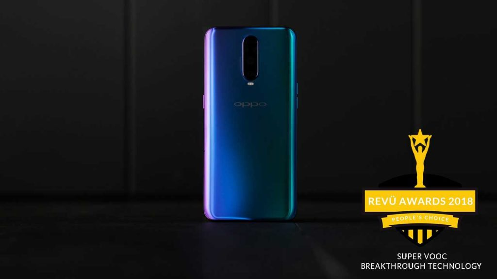 Super VOOC fast charging, OPPO R17 Pro, is breakthrough smartphone technology of the year at Revü Awards 2018, People's Choice category