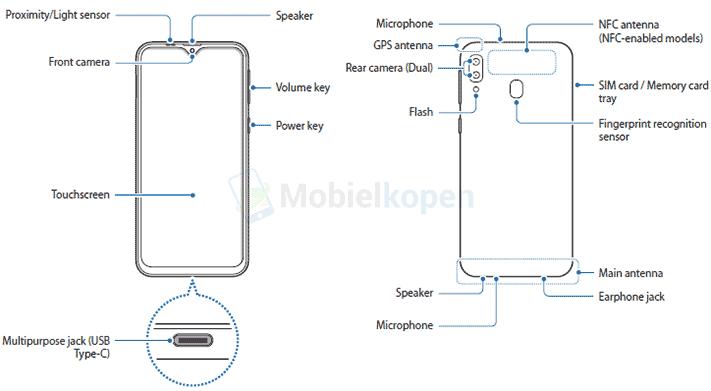 Samsung Galaxy M20 design, features and parts in manual leak via Revu Philippines