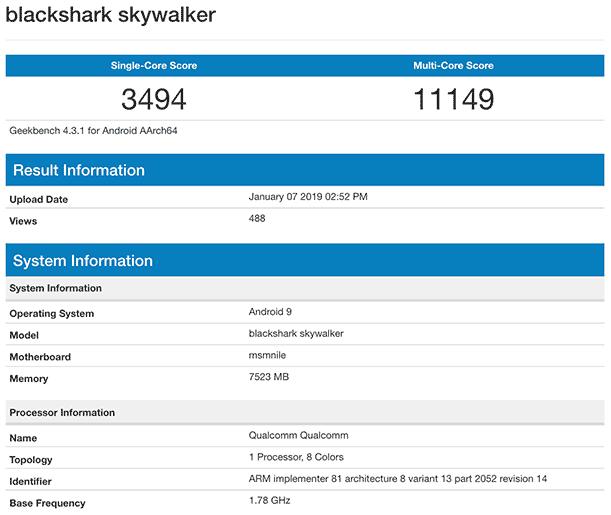 Xiaomi Black Shark Skywalker Geekbench benchmark scores on Revu Philippines